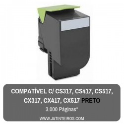 CS317, CS417, CS517, CX317, CX417, CX517 Preto Toner Compativel