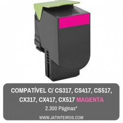 CS317, CS417, CS517, CX317, CX417, CX517 Magenta Toner Compativel