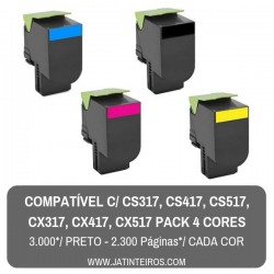 CS317, CS417, CS517, CX317, CX417, CX517  Pack Toners Compativeis