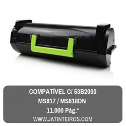 53B2000, MS817, MS818DN Toner Compativel Preto