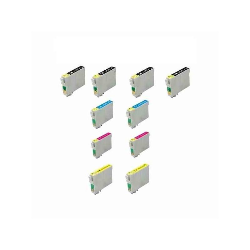 Pack Economico 10 Tinteiros Compativeis Epson T0711/2/3/4